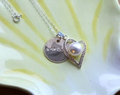 RESERVED for Photo Recreations: Hand Stamped Gold Grandma Necklace with Silver Heart and White Pearl Charm