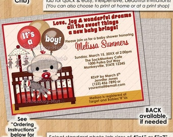 Boy Sock Monkey Baby Shower invitations / in crib monkeys sockmonkey boy boys toy red PERSONALIZED DIGITAL INVITATION / Design# 0074a