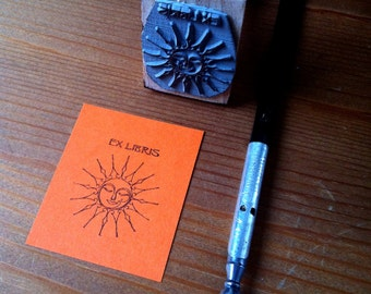 Personalized Ex Libris Stamp Sun Bookplate Stamp with wooden holder and free stamp pad