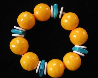 Yellow and Turquoise Paper Mache Bead Bracelet