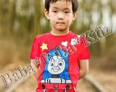 Th-0mas T rain shirt Hand painted Custom Boutique size 12 18 24 2 3 4 5 6 ETSYKIDS
