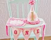 Vintage Inspired First Birthday Pennant Banner and Matching Party Hat