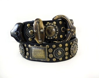80s Black Genuine Leather Belt Designer Brass Studded Original Courtenay