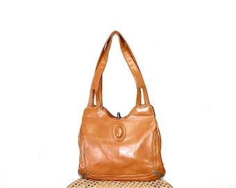 Vintage 50s hippie bag honey brown leather boho Satchel messenger shoulder bag organizer travel bag