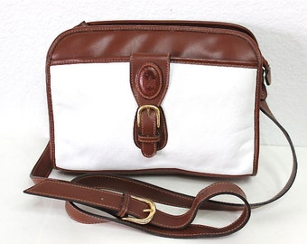Vintage Carriage House All Weather Leather White and Brown Bag Satchel Shoulder Handag