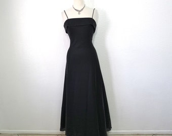 Vintage 80s Black Dress Metallic Glitter Spaghetti Strap Cocktail Formal Evening Party Prom Dress M