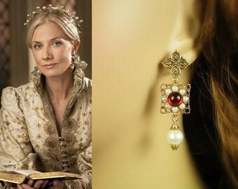 Catherine Parr Ruby Flower Pearl Earrings- e250