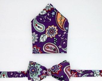 Bow-Tie and Pocket Square Set  - Purple Paisley,  Paisley, retro, vintage, men's gift set