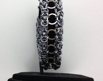 Black Pearl Anodized Aluminum and steel chainmaille Bracelet