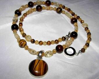 necklace Tiger Eye  Pendant & Earrings  Boho  Big Bold  Chunky on Sale