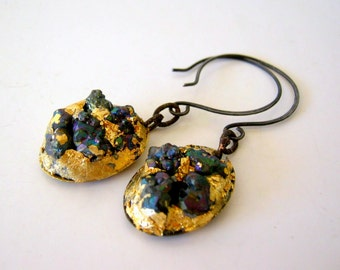 SALE - clearance - rough pyrite artisan earrings