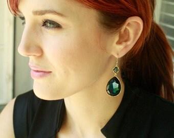 Large Montana Blue Swarovski Rhinestone Earrings on Gold.  Bridesmaid, Statement Earrings, Something Blue