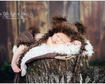Newborn Bear Outfit - Baby Bear Outfit - Animal Hat With Ears - Baby Boy Bear Hat - Baby Bear Clothes - Bear Hat - Baby Girl Bear Outfit