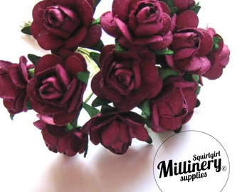 12 Wine Colour Wired Miniature Paper Roses Flower Picks for Millinery & Tiara Making