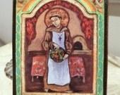 Chef gift cooking chef baker food foodie Retablo retablos San Pasqual Patron of chefs bakers cooks and kitchens -retablo print