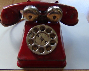 Antique Vintage Child's Red Metal Toy Telephone. Collectible Toys for Display, Doll Accessories, Projects, or Decorating.