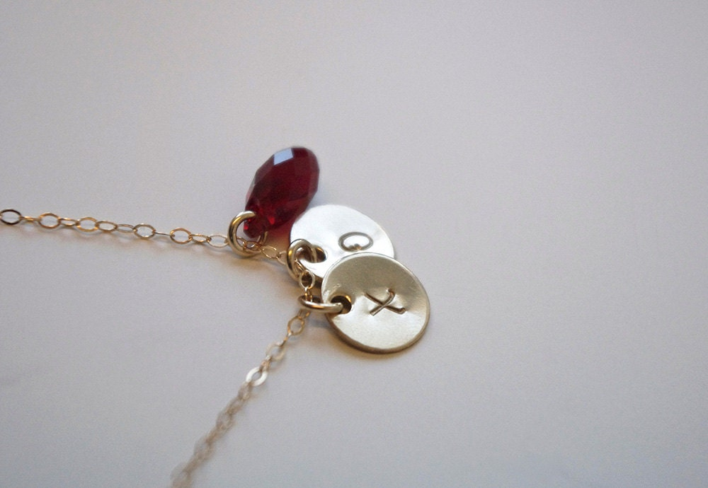 Hugs Kisses Necklace Personalized Garnet Crystal Necklace
