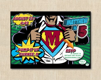 Superhero Birthday Party Invitation - 12 printed invitations