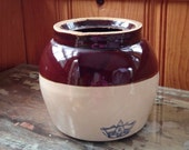 Robinson Ransbottom Blue Crown 2 Stoneware Crock. Antique Brown and Cream Handled Bean Crock.