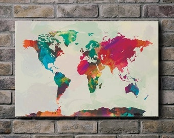 Watercolor World Map - Mounted Canvas Wall Art (multiple color options)