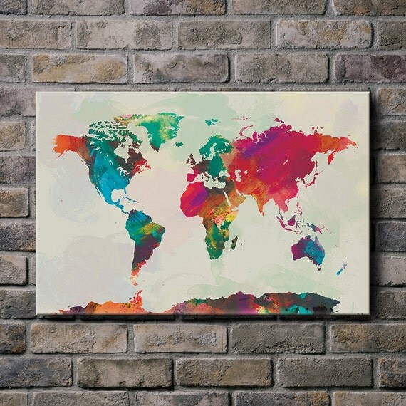 Watercolor world map mounted canvas wall art multiple color like this item gumiabroncs Image collections