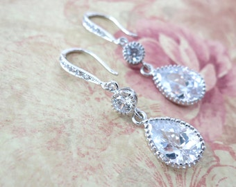Ada - Cubic Zirconia Teardrop Earrings, gifts for her, Silver earrings, bridal jewelry, bridesmaid earrings, white weddings, simple weddings