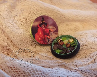 Box of Miniature Chocolates with Vintage Witch in Red Cloak