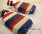 Vintage Mid Century Americana Layered Thermoset Lucite Red White Blue Slices Clip Earrings - HOLD for ERICA