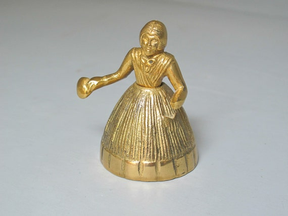 Vintage Lady Brass Bell / Colonial Woman Dinner Bell, Small Figurine, Gold Cast Metal Hand Bell, Desk Accessory Paperweight