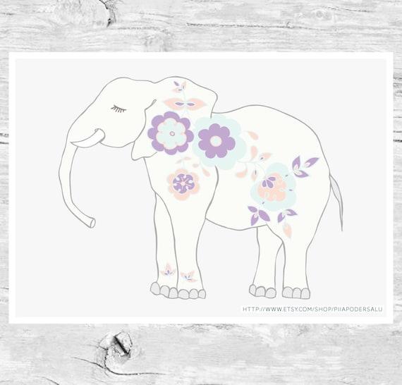 Cute Elephant Nursery Art | Sweet Dreams | Dreamy | Pastel
