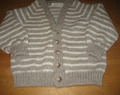 Child Stripped Cardigan Sweater, Knit Sweater, Wool  Sweater, Sweater Sizes 8 - 12, Beige Sweater, Green Sweater,