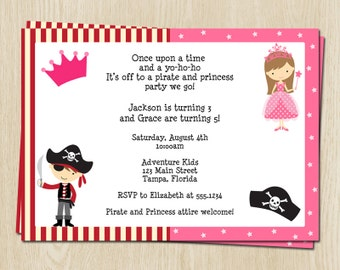 Princess and Pirate Birthday Party Invitations, Boys, Girls, Pink, Red, Stripes, Crown, Set of 10 Printed Cards, PAPGN, Princess and Pirate