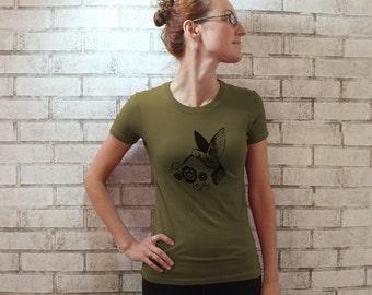 Bird Tshirt, Hummingbird Cotton Crewneck, Women's T Shirt, Ladies T, Light Olive Drab