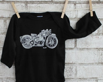 Motorcycle Infant Creeper, Black, Cotton Baby Bodysuit, Onepiece, Long Sleeved One Piece Snapsuit, Motor Bike, Shower Gift