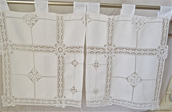 Vintage French Caf 233 Curtain Set By Mademoiselletresors On Etsy