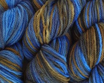 Blue Brown Hand Dyed Merino Wool  DK Sport Weight Yarn in Indigo Cowboy