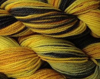 Hand Painted Merino Wool Worsted Weight Yarn in Taxi Cab Hand Dyed Yellow Gray Black