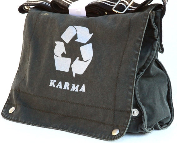 Karma recycle Courier messenger bag. In 2 colors