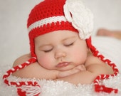 Crocheted  Red with  White stripe and flower Earflap hat only