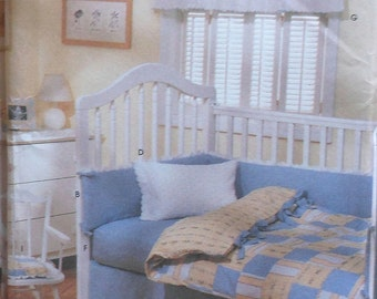 Nursery Set Sewing Pattern UNCUT Simplicity 9315 duvet cover bumper dust ruffle pillowcase valance