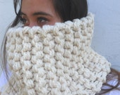 The Tahoe - The Ultimate Thick Knitted Wool  Circle Cowl Scarf in Winter White - Men or Women - by Tejidos on Etsy