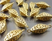 4 marquise 3-D filigree jewelry connectors, matte gold filigree findings, jewelry / jewellery supplies 1851-MG (matte gold, 4 pieces)