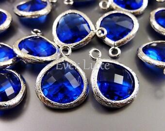2 cobalt blue / ink blue glass crystal teardrops with silver bezel frame, pendants 5064R-CO-13