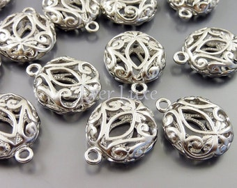 4 puffy round filigree charms / matte silver floral brass jewelry pendants / wholesale jewelry supplies 1485-MR (matte silver, 4 pcs