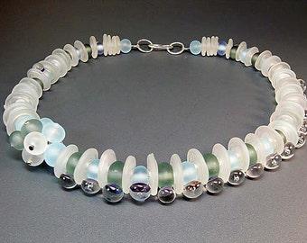 Seafoam  - handmade lampwork glass bead necklace by Manuela Wutschke