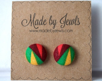 Fabric Covered Button Earrings - Bird of Paradise - Buy 3 get 1 free