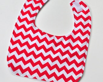 Easter Baby Bib, Dribble Bib, Infant Bib, Easter Baby Gift, Baby Boy Bib Infant Boy, New Mom, Red Chevron, Gender Neutral