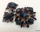 Vintage Schreiner Purple Rhinestone Brooch Earrings Demi-Parure