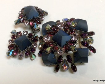 Vintage Schreiner Purple Rhinestone Brooch Earrings Demi-Parure