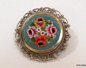 Vintage Mosaic Tile Brooch Blue Flowers Filigree Frame